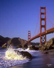 golden gate bridge, bridge, san francisco, golden gate, california, waves, shoreline, coast