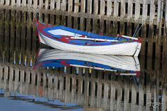 skiff, boat, dinghy, lifeboat, oars, paddles, reflection,  rowboat