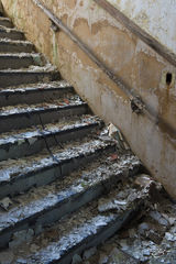 stairway, peeling, stairwell, staircase, stairs, paint, school, abandoned, forgotten, decay, ruin