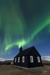 Iceland, aurora, borealis, green, violet, stars, northern lights, ribbon, spirit, coronal mass ejection, solar flare, energy, nordic, arctic, church, black, budir, Búðir, cross, steeple, small church