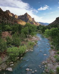 zion national park, zion, the watchman, watchman peak, bridge, satin water, virgin river, flowing water, wet rock, the narrows, utah