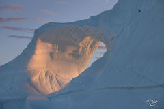 ice, iceberg, ice arch, arch, golden light, warm, melt, deliquesce, global warming, climate change, daybreak; pastel sky; abstract; sunrise; light; shadow