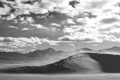 sand dunes, sand, dune, blowing sand, sand storm, wind storm, black and white, clouds, strong winds, windy