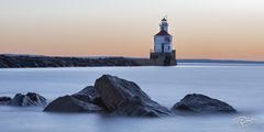 wisconsin point, light, lighthouse, panorama, rocks, rocky shoreline, mist, dusk, predawn, lake superior, sentry, beacon