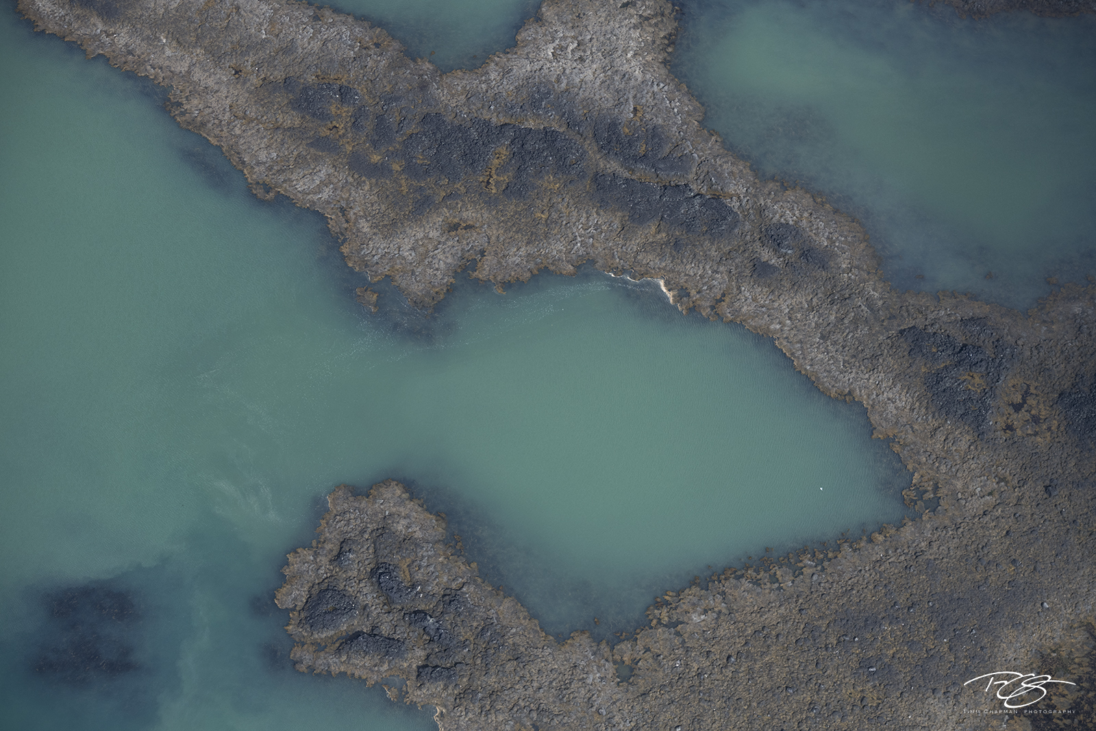 Aerial abstract photograph of Iceland's coral reef
