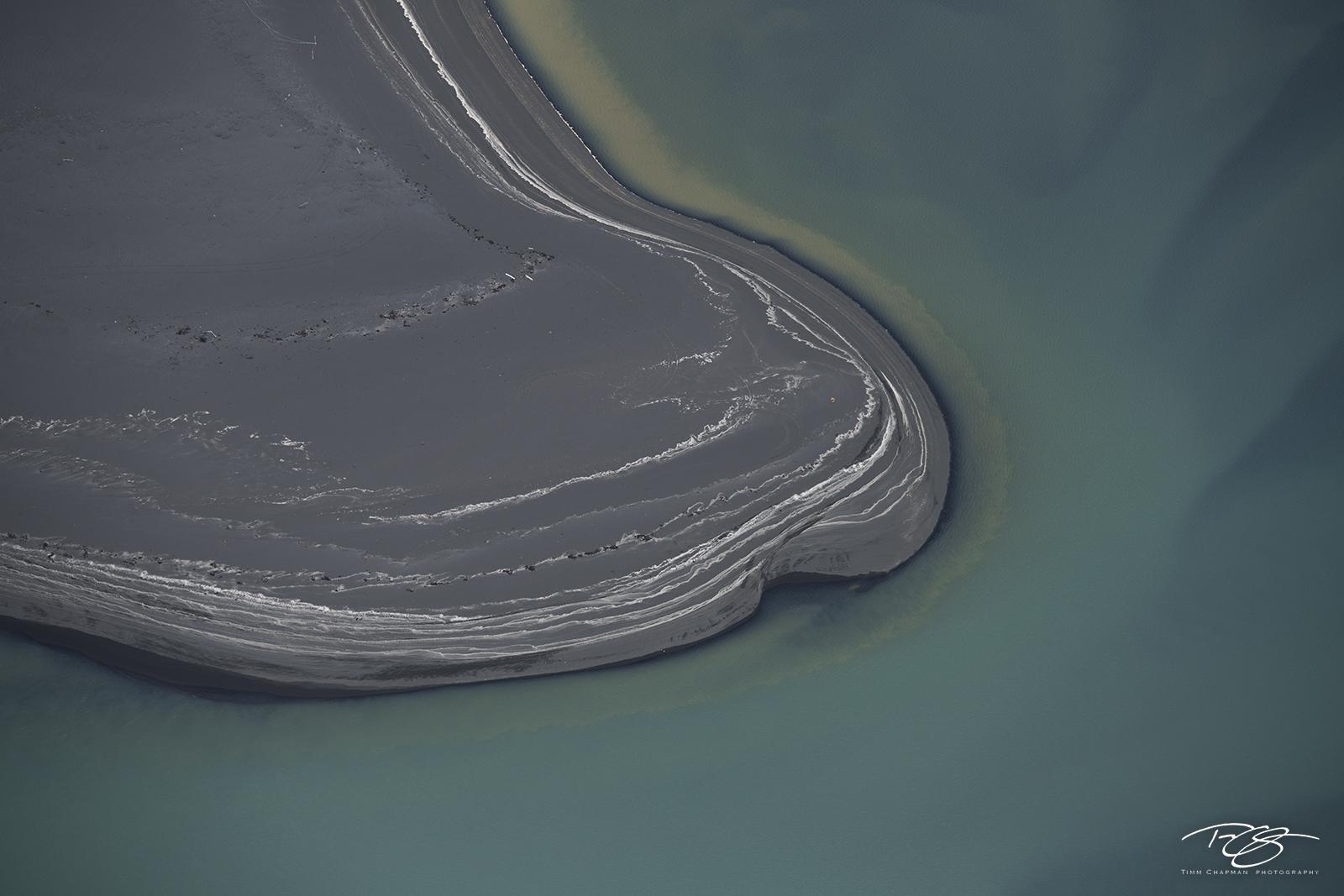 An aerial abstract photograph of Iceland's colourful Þjórsá  River