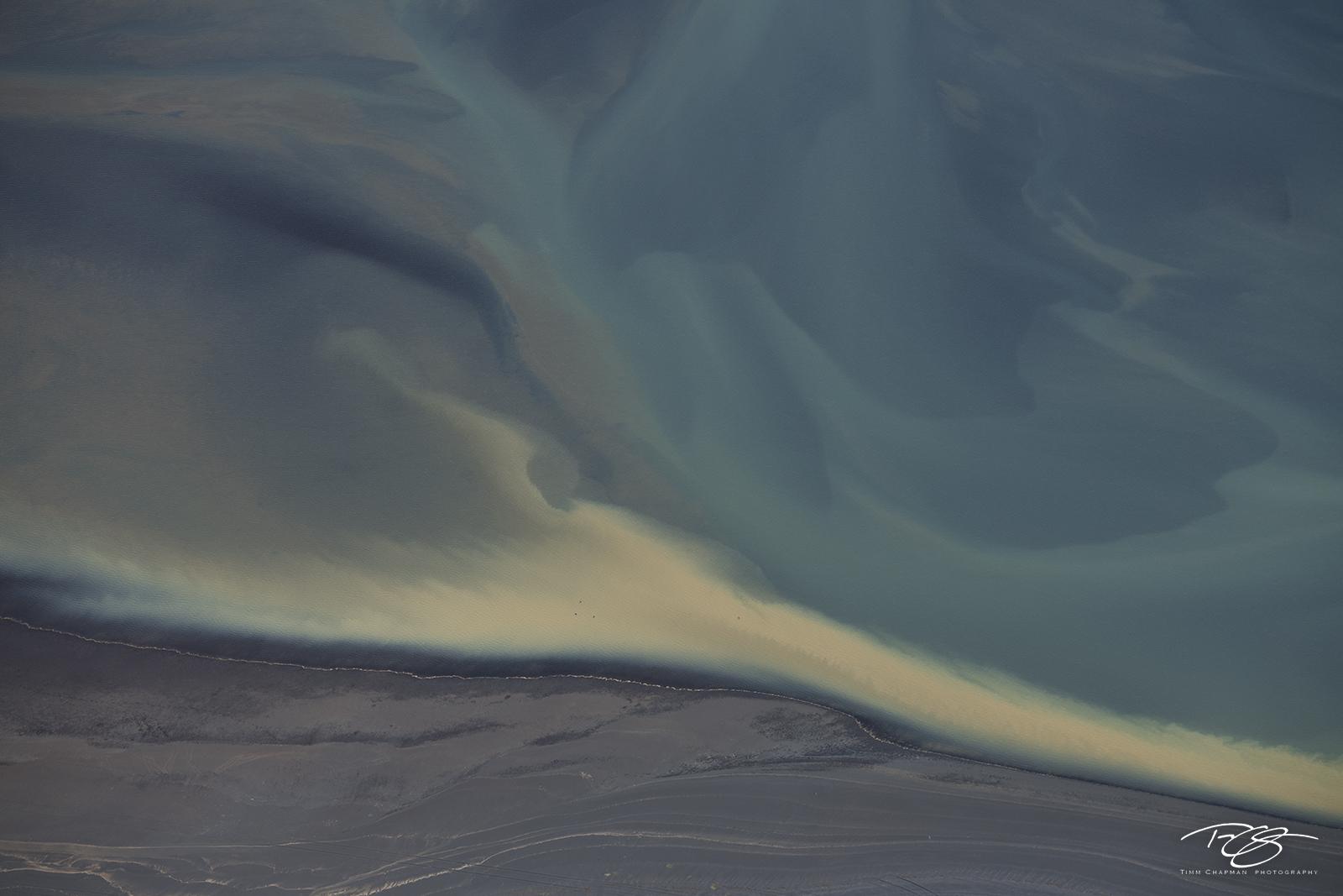 Abstract aerial photograph of Iceland's colourful Þjórsá river