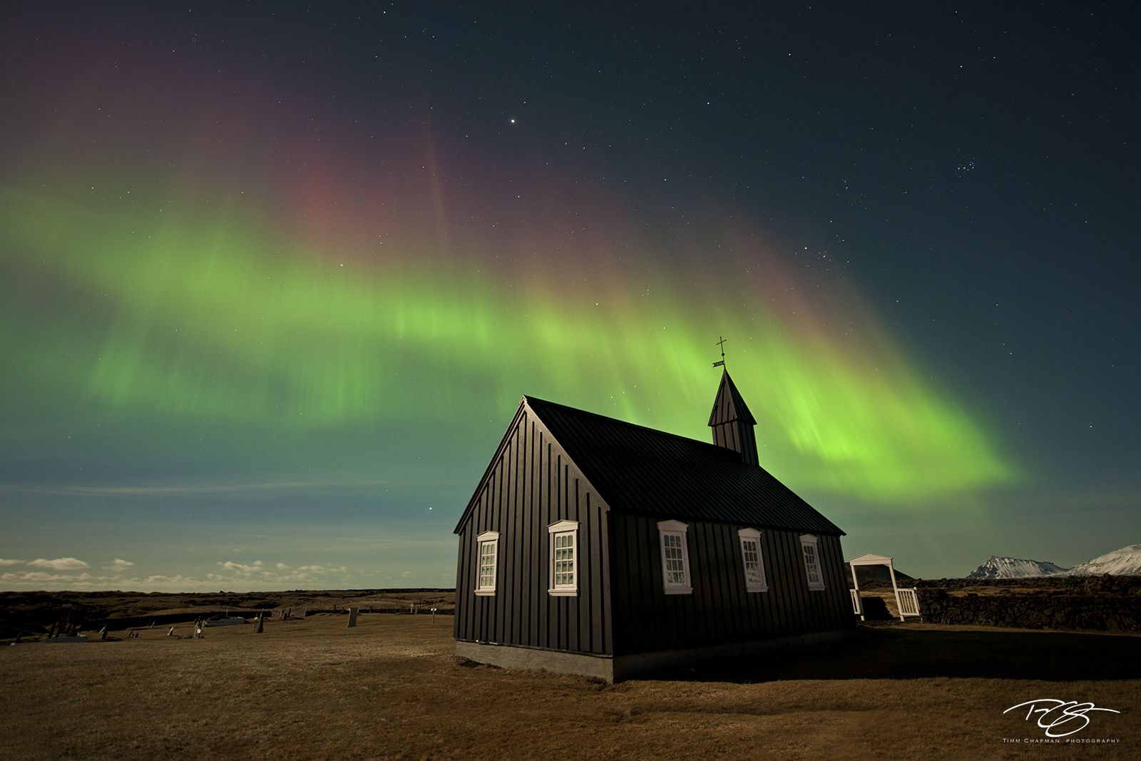 Iceland, aurora, borealis, green, violet, stars, northern lights, ribbon, spirit, coronal mass ejection, solar flare, energy, nordic, arctic, church, black, budir, Búðir, cross, steeple, small church, photo