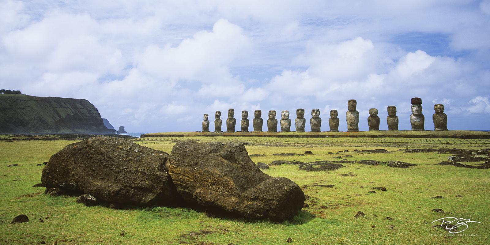 rapa nui, easter island, panorama, clouds, isla de pascua, chile, moai, stone statues, giant heads, pop culture, hand carved heads, giant faces, long ears, short ears, ahu tongariki, photo