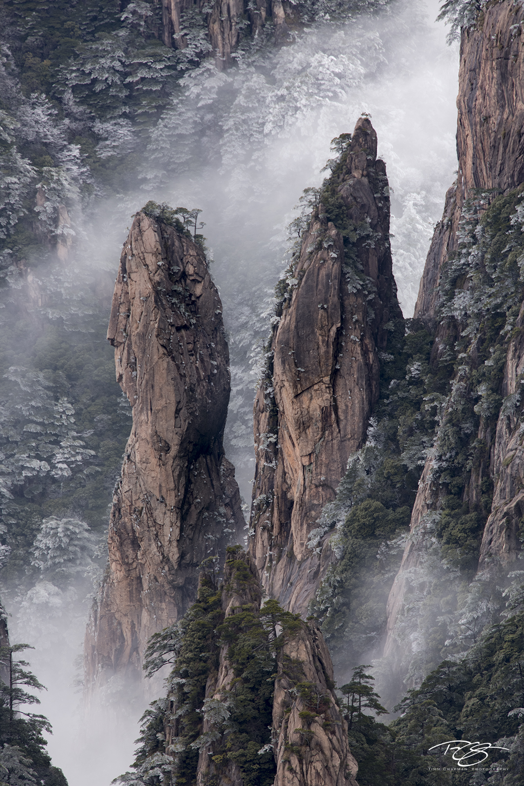 huangshan, china, yellow mountains, gfloating mountains, clouds, inversion, fog, spires, towers, photo