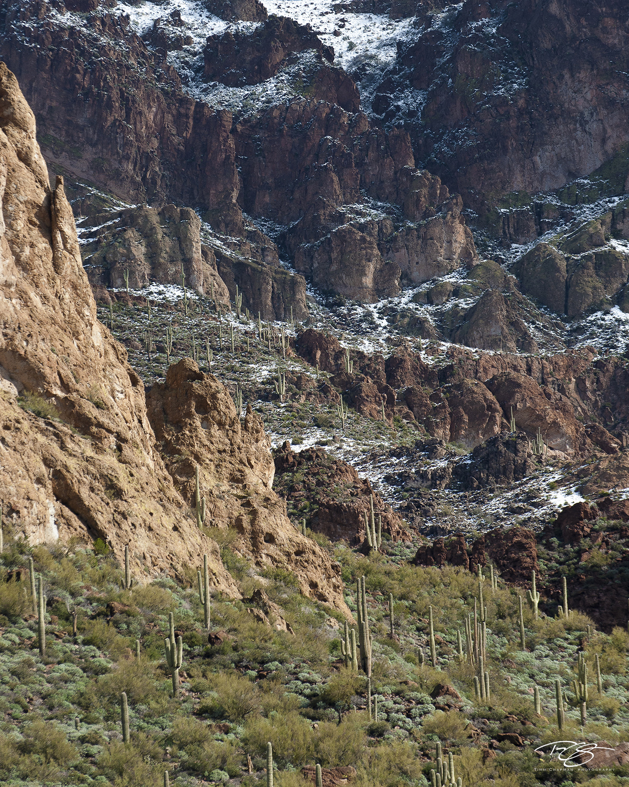 Snow blankets the upper reaches of the Superstition wilderness along the Apache Trail