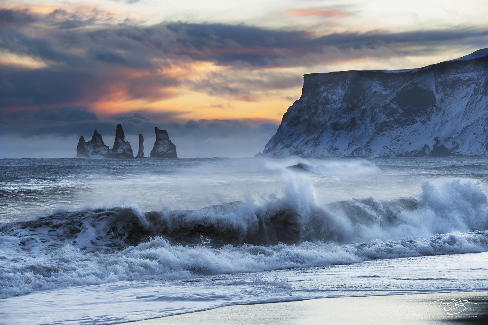 Iceland, reynisdrangar, reynisfragar, vik, troll, trolls, south coast, stormy, waves, crashing, angry, sea, rugged cliffs, sunset, the secret life of walter mitty, game of thrones, photo
