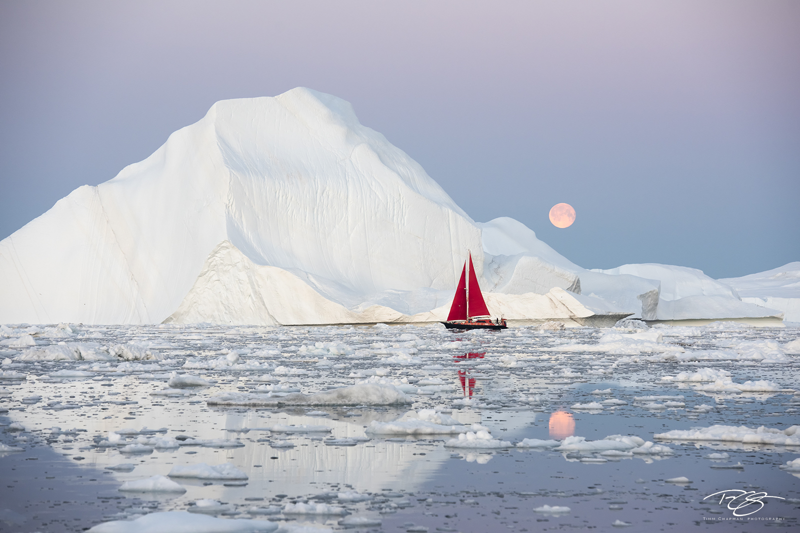 ice, iceberg, arctic, moondance, full moon, reflection, disko bay, sailboat, yacht, red sails, scarlet sails, photo