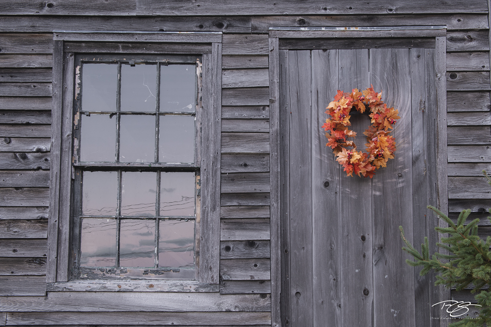 window, door, maine, cabin, wood, rustic, wreath, orange
