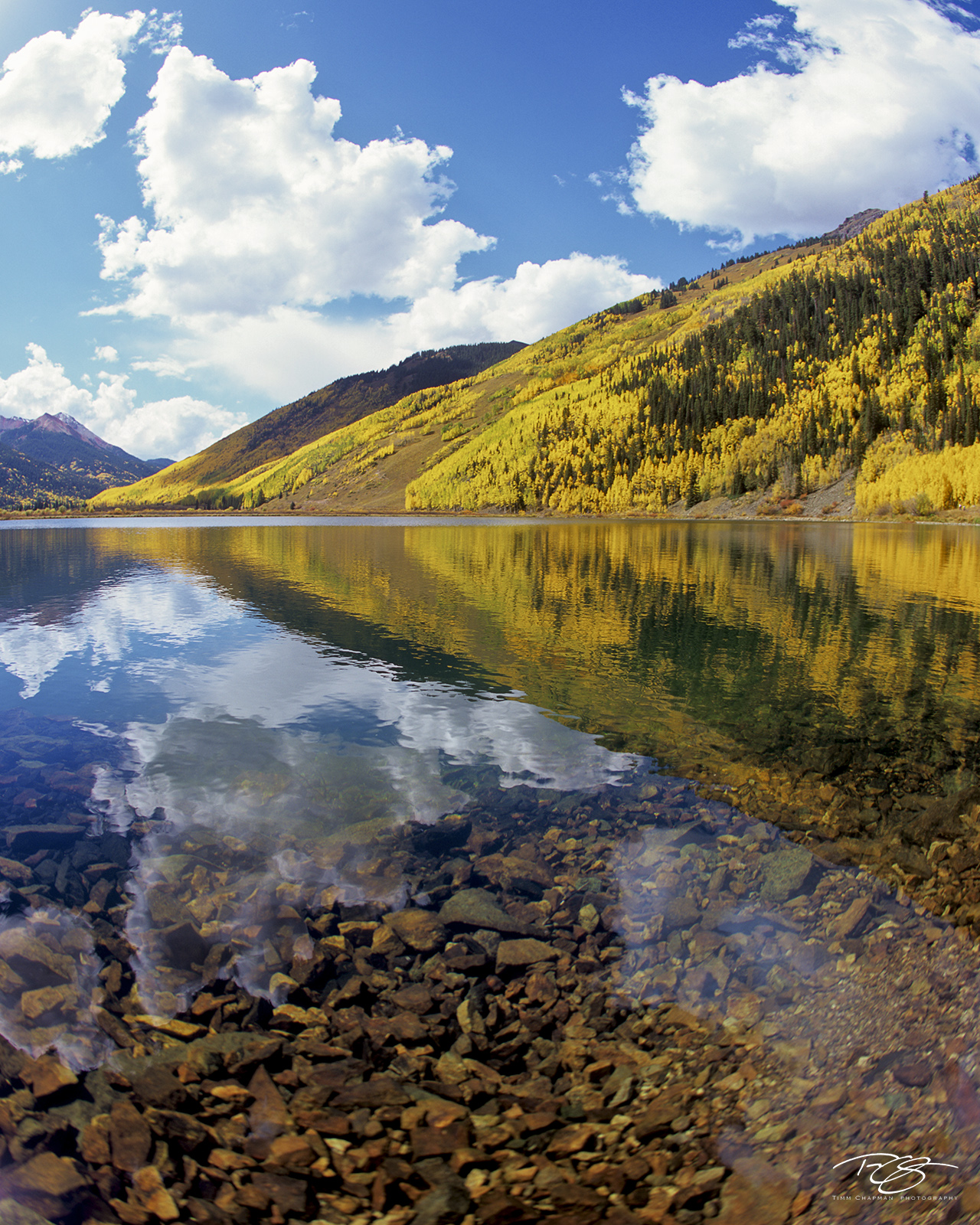 crystal lake, reflection, clouds, clear water, colorado, san juan mountains, autumn color, autumn colour, fall colour, fall colours, tranquil landscapes, spectacular color, photo