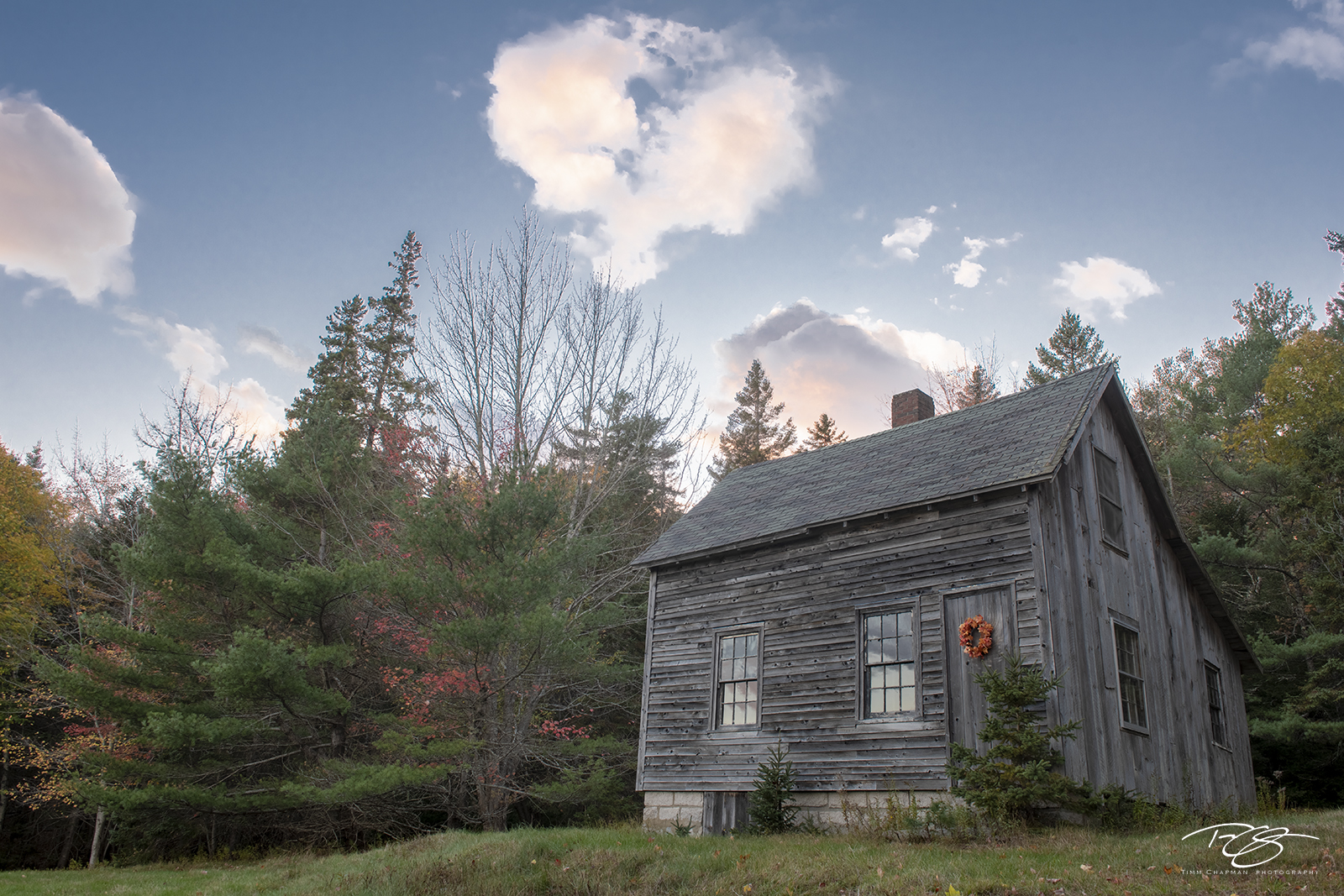 autumn, fall, colour, colours, color, colors, leaves, maine, cabin, wood, rustic, photo