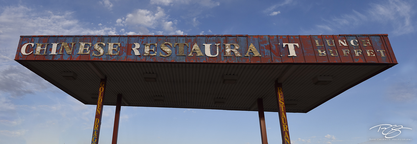 Sign; Road Sign; Route 66; chinese restaurant; santa rosa; new mexico; chinese food; restaurant; vintage; mother road, buffet, canopy, peeling paint, abandoned, derelict, vintage sign, panorama, photo