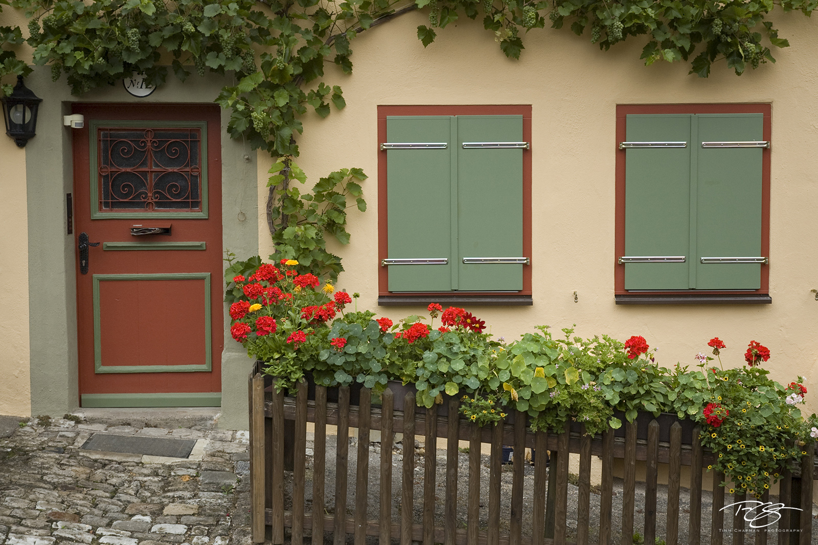 germany, Häuschen, Cottage, medieval, village, town, bavaria, windows, door, red door, green windows, flowerboxes, flower boxes, beige walls, romantische strasse, romantic road, architecture