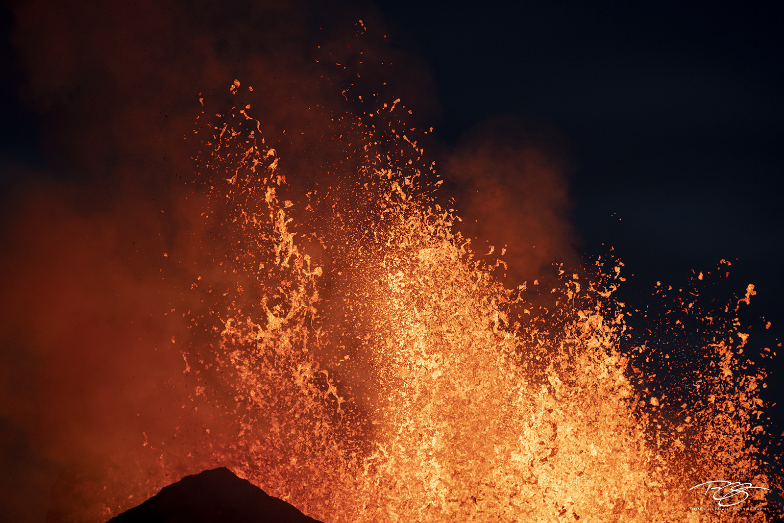 Closeup of fountaining lava during a volcanic eruption