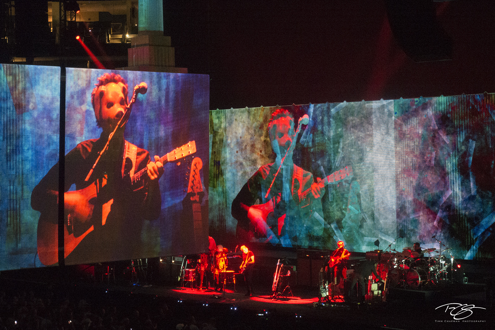 roger waters, pink floyd, in concert, performing, us + them, us and them, acoustic guitar, dogs, animals, visuals, projection, mask, photo