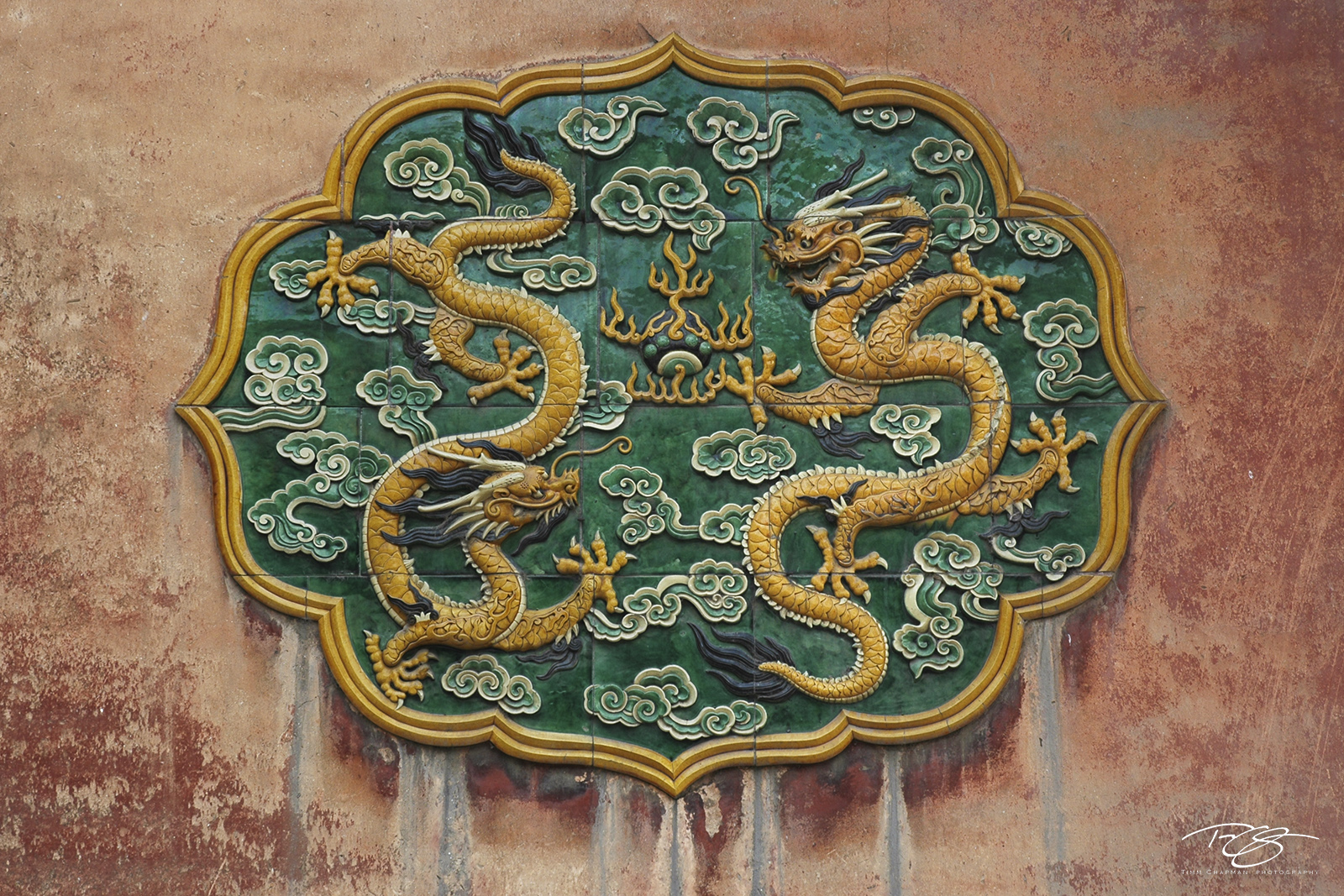 dragons, dragon, tile, forbidden city, beijing, peking, china, plaque, chinese, sculpture, peeling paint, yellow, green, texture, power, strength, photo