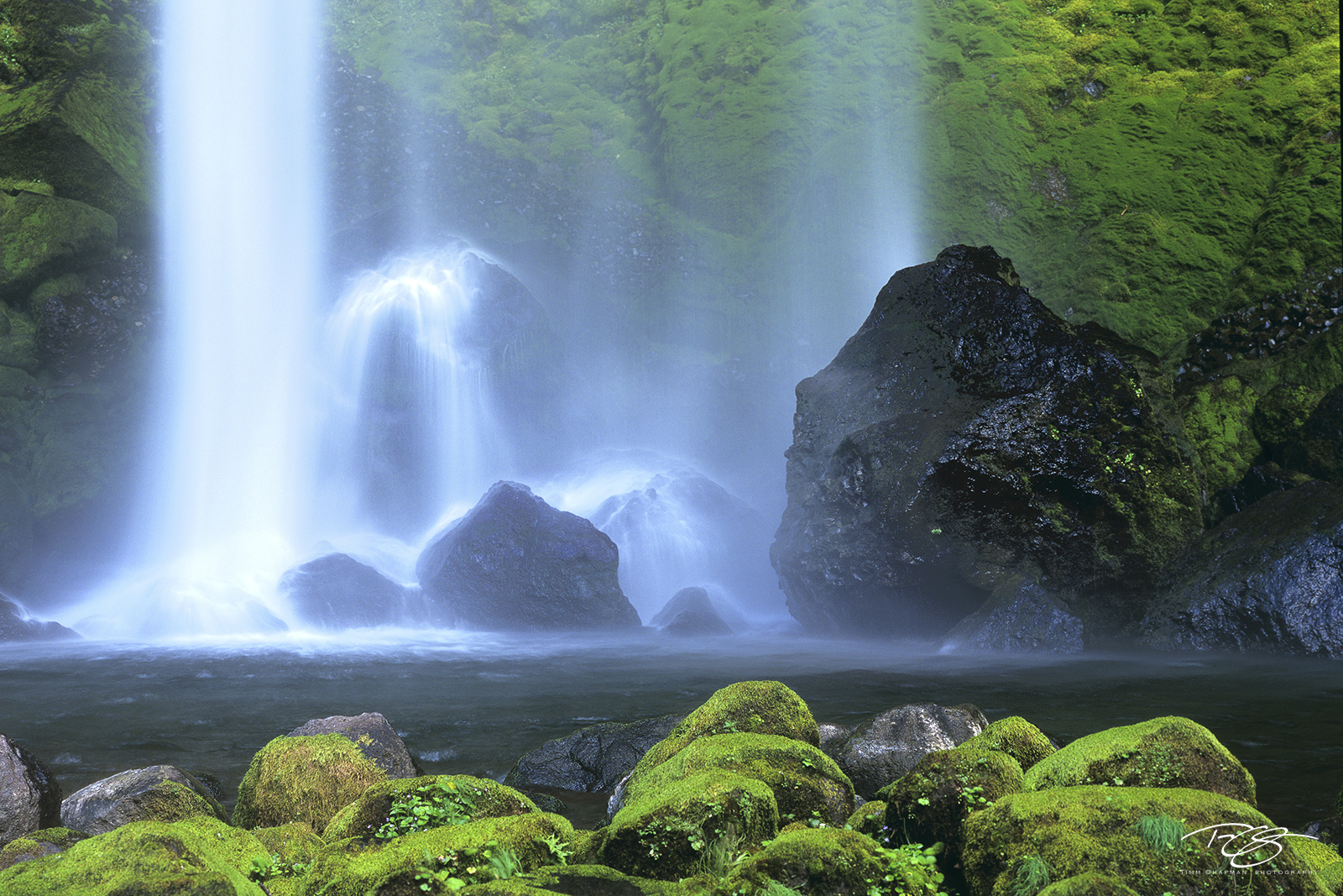 The spectacular Elowah Falls provide a wealth of precipitation to the mossy forest along the Columbia River Gorge