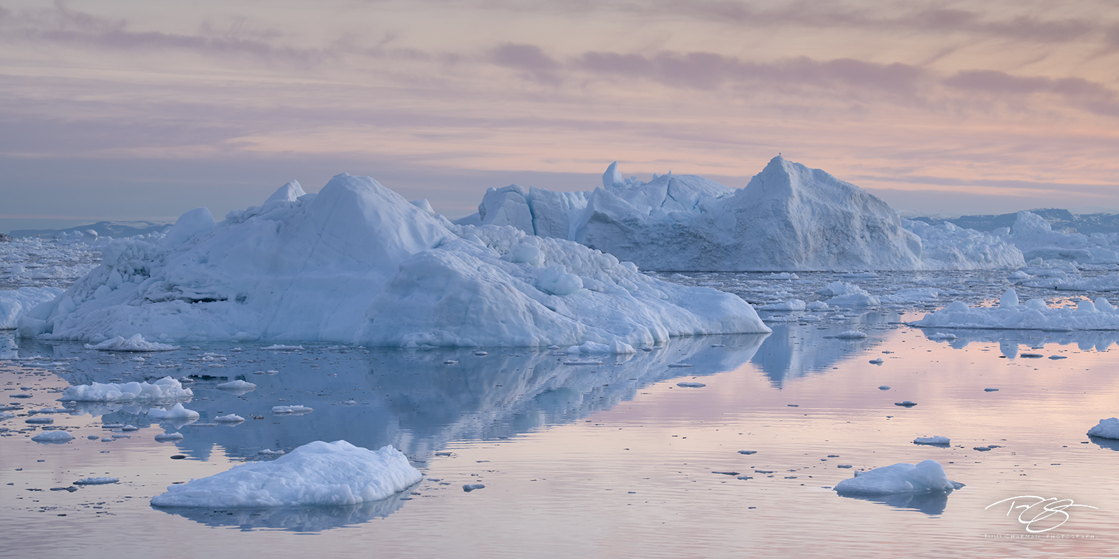 ilulissat icefjord; kangia icefjord; ice; iceberg; reflection; dusk; eventide; twilight; pastel sky; pink sky; alpenglow, photo