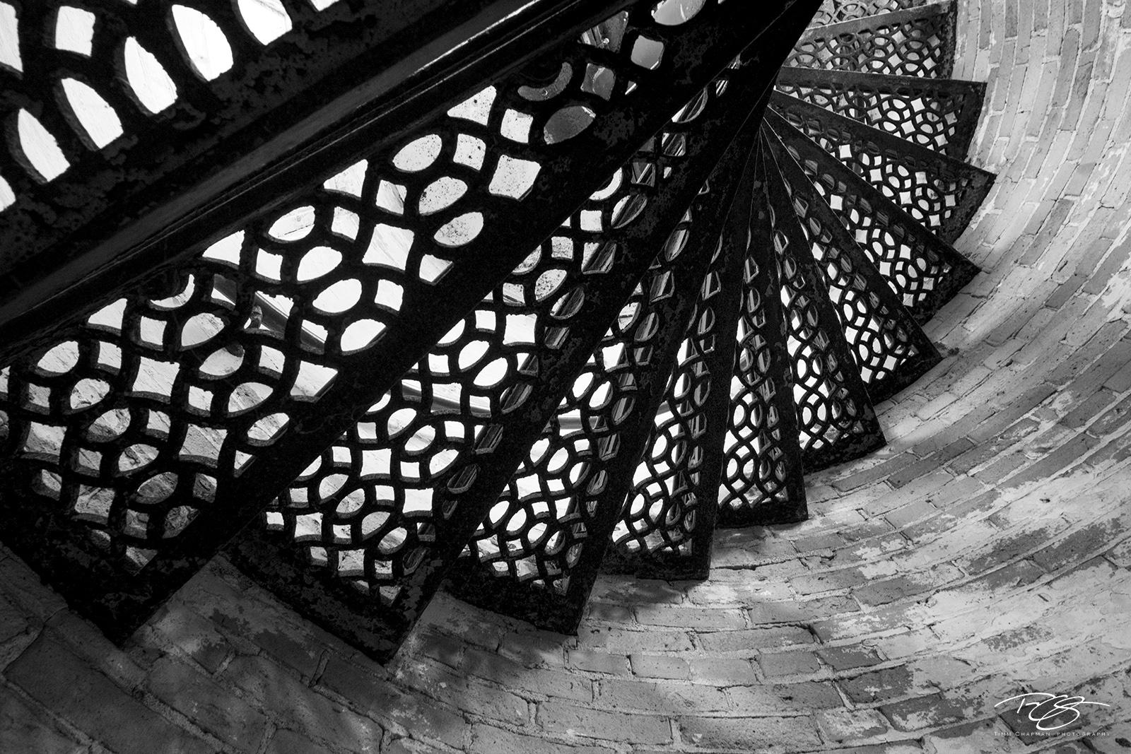 lighthouse, Looking Down, lake michigan, mackinaw, mackinaw city, michigan, light, beacon, staircase, spiral, abstract, steps, winding, peeling paint, window, black & white, monochrome, photo