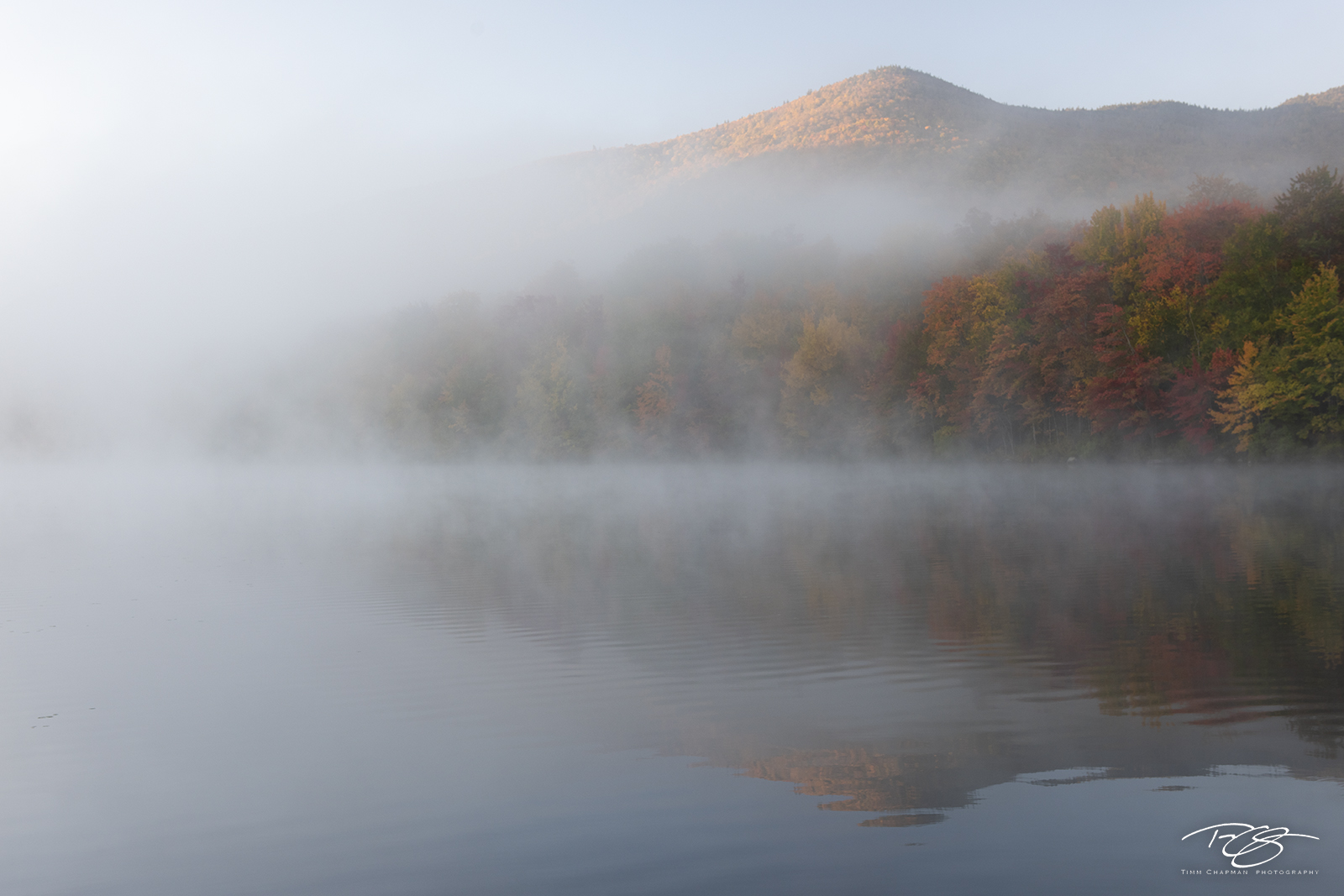 autumn, fall, colour, colours, color, colors, leaves, new england, new york, adirondack mountains, adirondacks, fog, reflection, pond, lake, mist, debar pond, photo