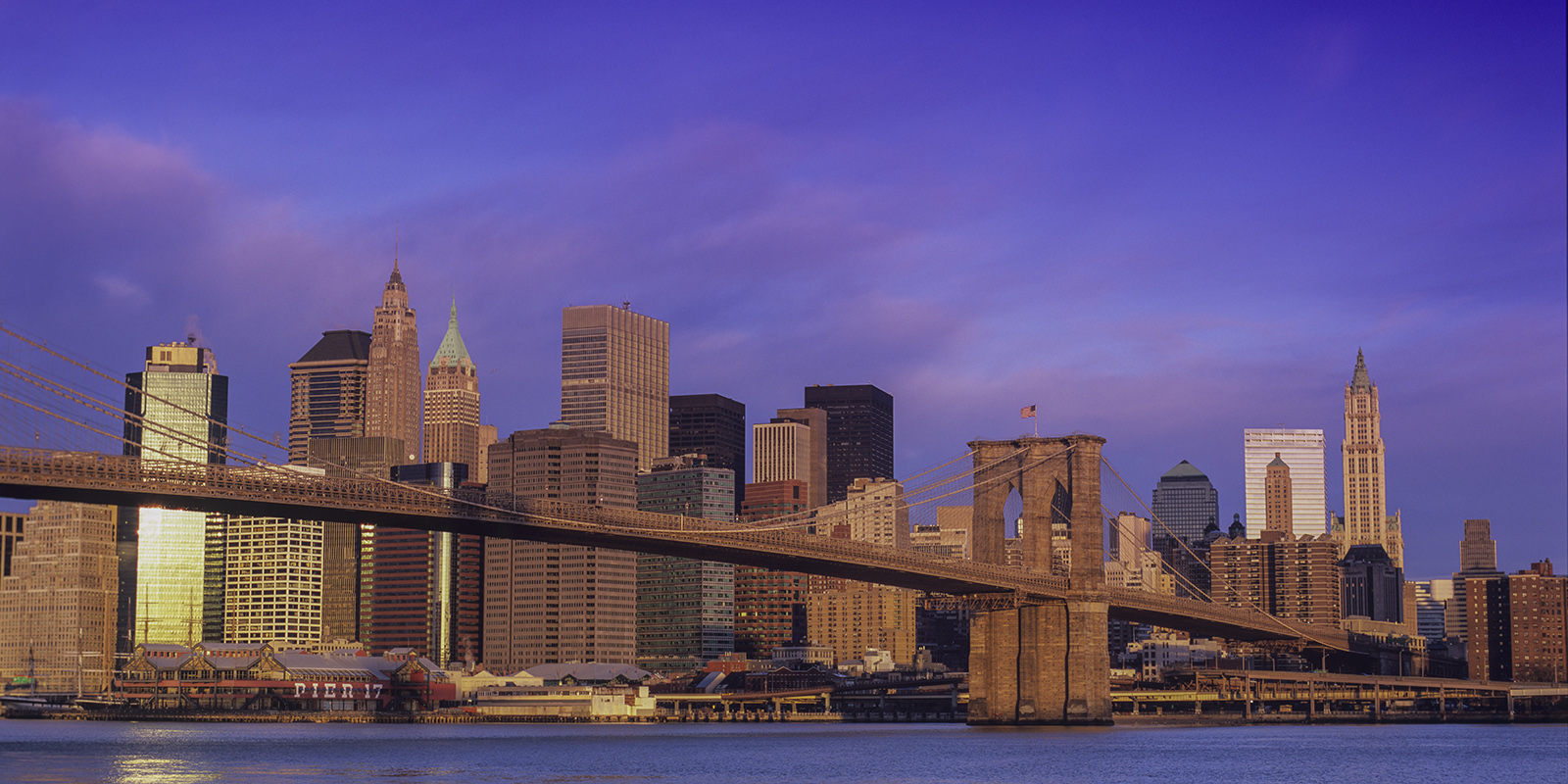 New York, NYC, New York City, Lower Manhattan, Brooklyn Bridge, Sunrise, Pastels, Pier 17, Wall Street, Financial District, Woolworth building, Fulton Fish Market, Brooklyn, panorama, photo