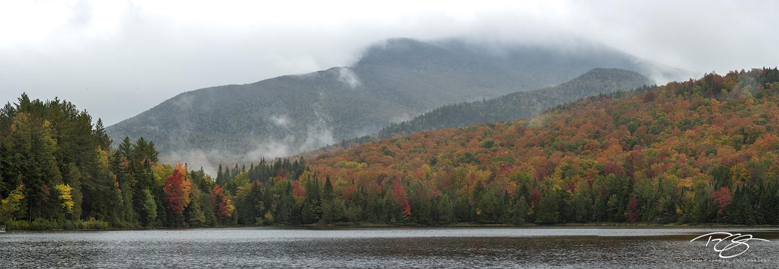 autumn, fall, colour, colours, color, colors, leaves, new england, adirondack, loj, heart lake, adirondacks, adirondack mountains, fog, mist, algonquin peak, new york, photo