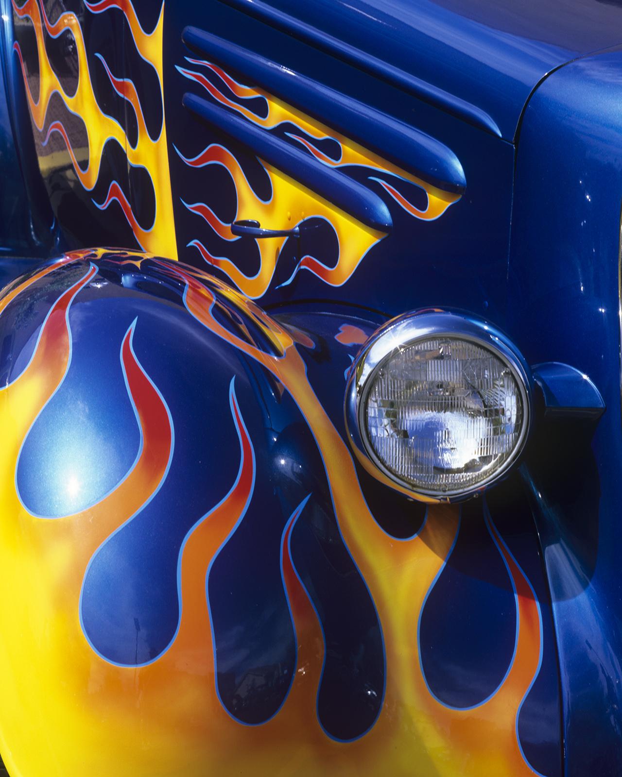 1936, chevy, chevrolet, coupe, flatback, flames, paint, blue, show car, hot rod, good guys, barrett jackson, collector car, details, abstract, headlight, headlamp, photo