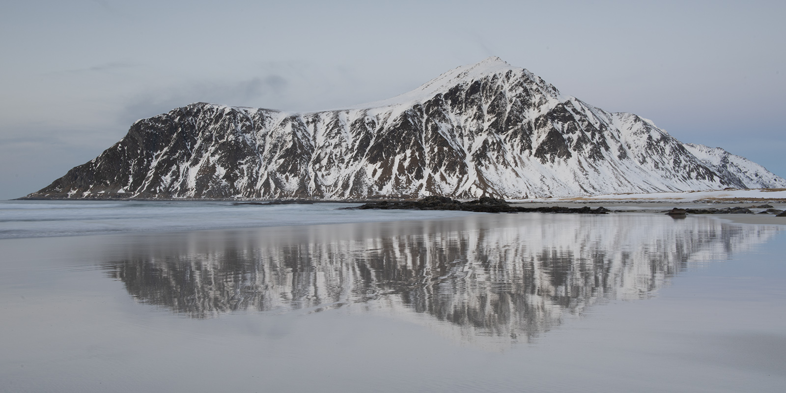 panorama, norway, gallery, lofoten, reflection, hustinden, flakstadoya, beach, skagstanden, beach, coast, waves, long exposure, ethereal, snow, rugged, strong, peaceful, quiet, serene, photo