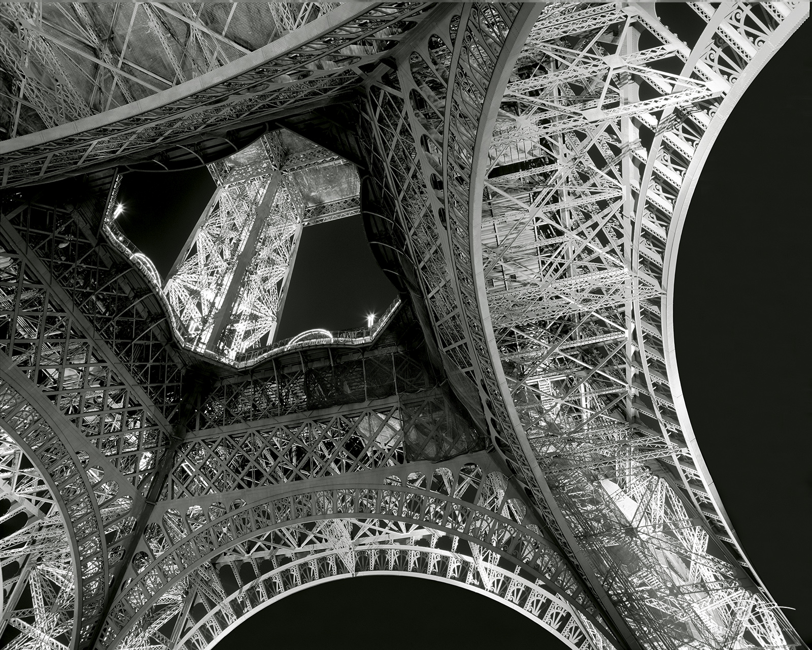eiffel tower, la tour eiffel, black and white, intricate detail, architectural masterpiece, iron tower, night, lights, incredible architecture, paris landmark, intricate, intricacy, monochrome, photo