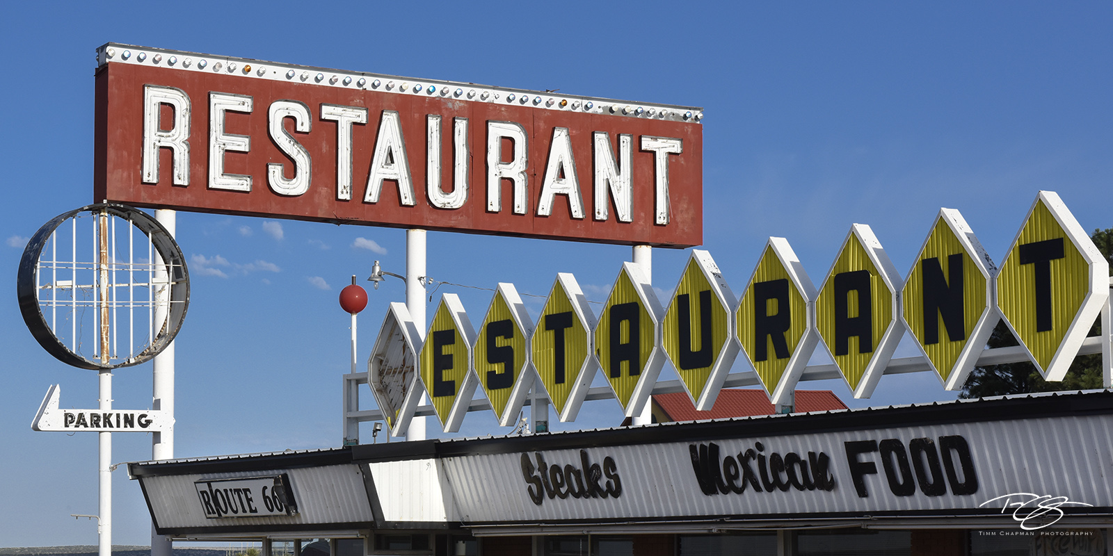 vintage sign, old sign, rust, route 66, sign, dining room, kitchen, restaurant, eatery, diner, cafe, santa rosa, greasy spoon, art, clouds, red, blue, the missing r, mexican food, panorama, photo