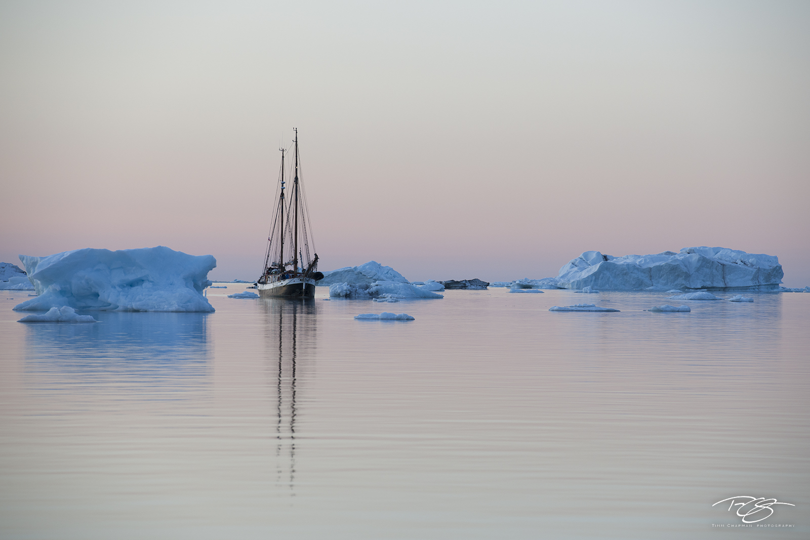 ice; iceberg, donna wood, sailboat, fishing vessel, ship, schooner, reflection, eventide, dusk, twilight, pastel sky, blue ice, calm, tranquil, peaceful