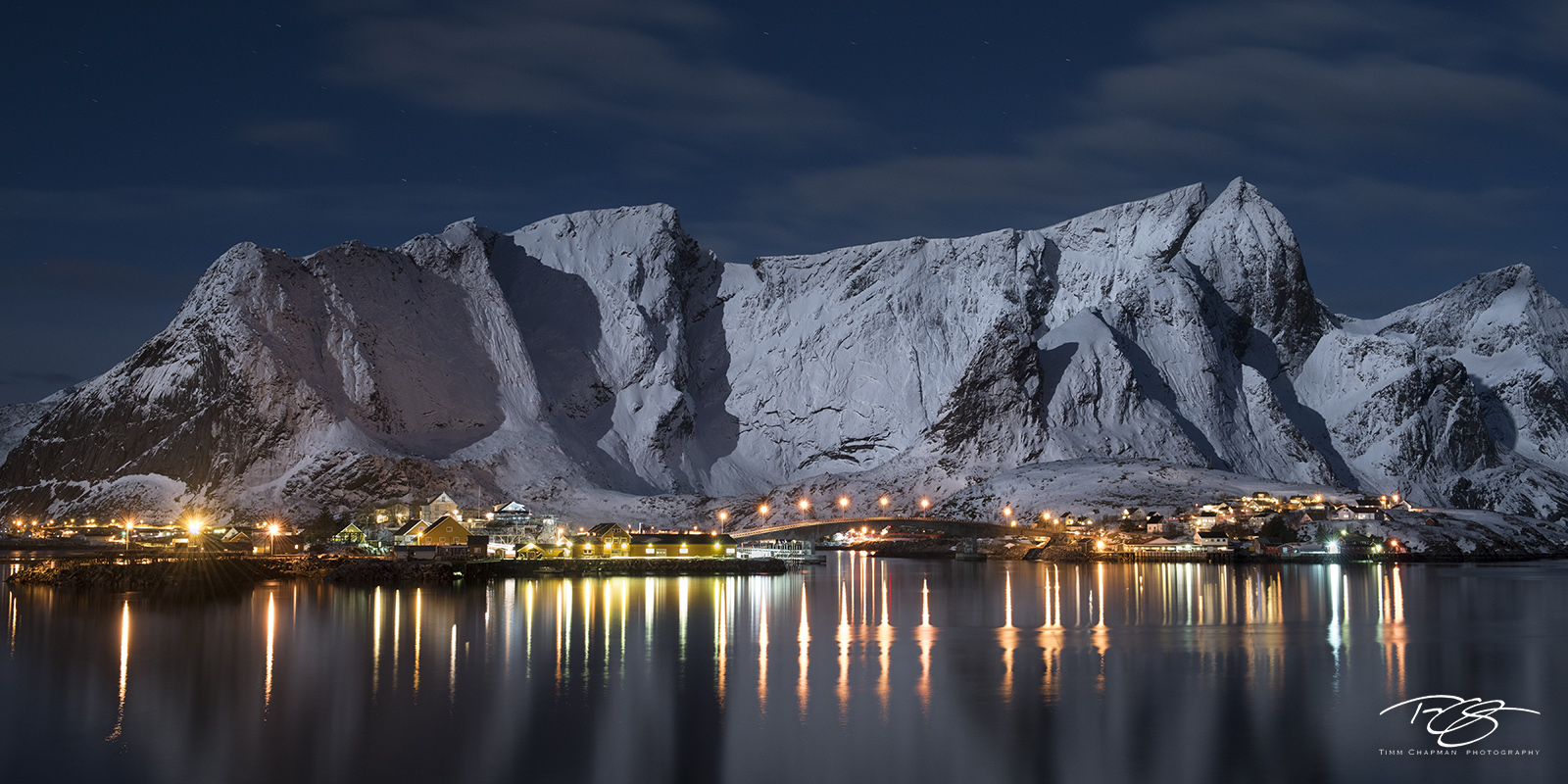 panorama, norway, gallery, lofoten, sakrisoya, sakrisoy, Hamnøy, Sakrisøya, full moon, moonlight, reinebringen, fishing village, Sakrisøya Rorbuer, night light, night, long exposure, island, tranquil,, photo