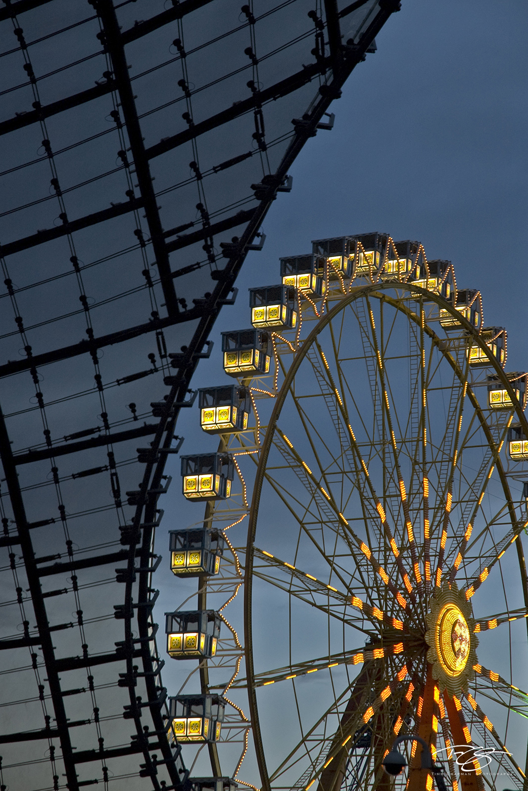 germany, munich, olympiapark, ferris wheel, amusement park, bavaria, blue hour, abstract, München, photo