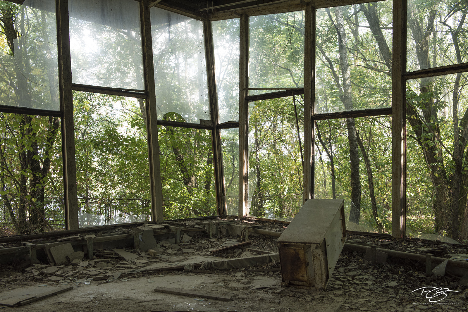 chernobyl, chornobyl, pripyat, exclusion zone, abandoned, forgotten, wasteland, radioactive, decay, cafe, glass, dust, dirty, weathered, debris, the dish, cafe pripyat, window, trees, room with a view, photo