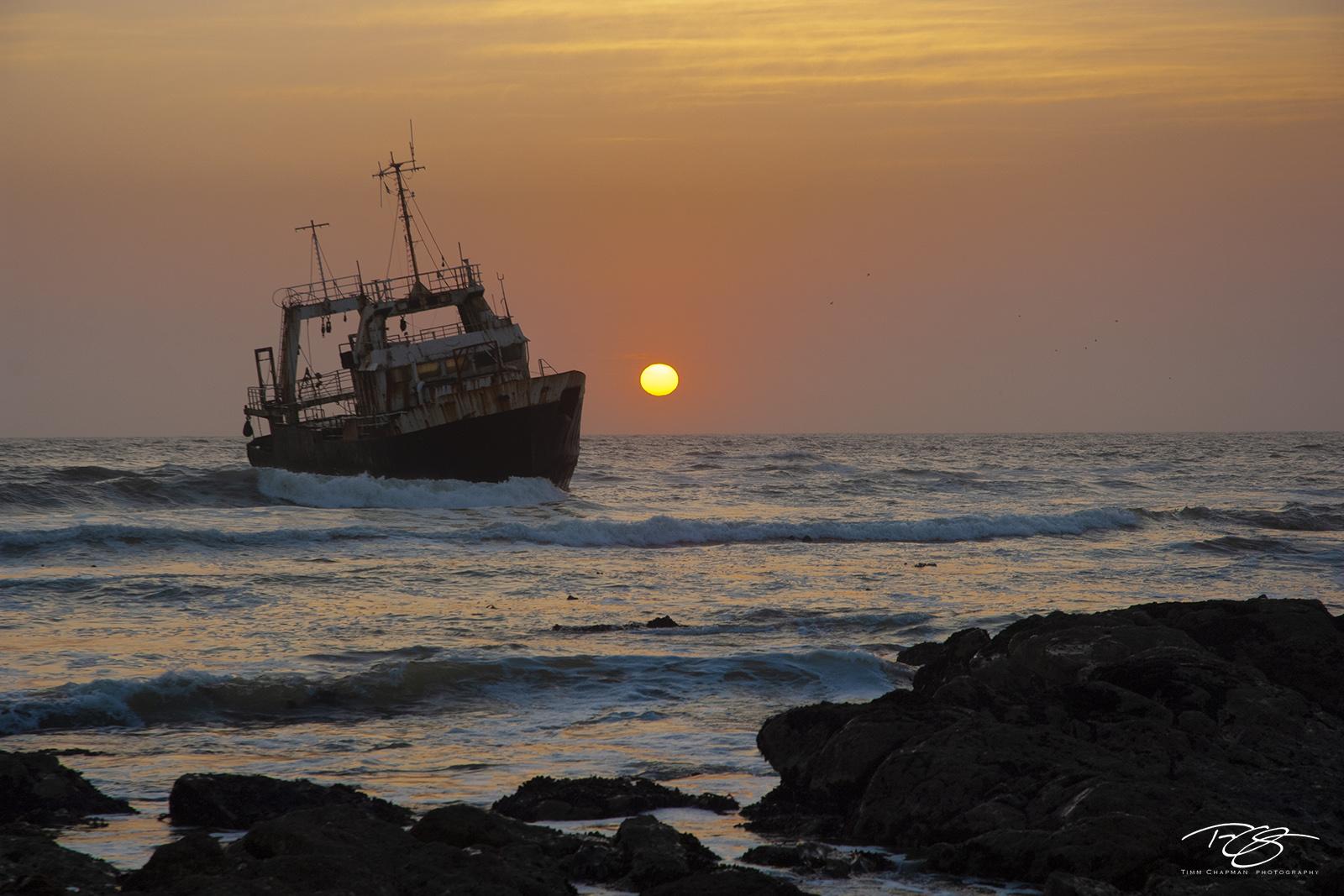 despair, red sky at night, shipwreck, nautical wreckage, sunset, red skies, helpless, treacherous seas, run aground, listing, salvage, skeleton coast, namibia, benguela current, desolate, nautical, photo