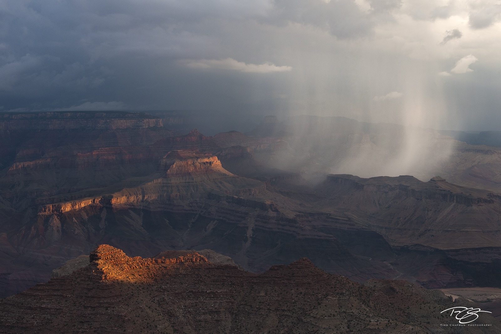 arizona, grand canyon, monsoon, showers, storm, rainstorm, thunder, lightning, Showers in the Canyon, eye of the storm, selective lighting, photo