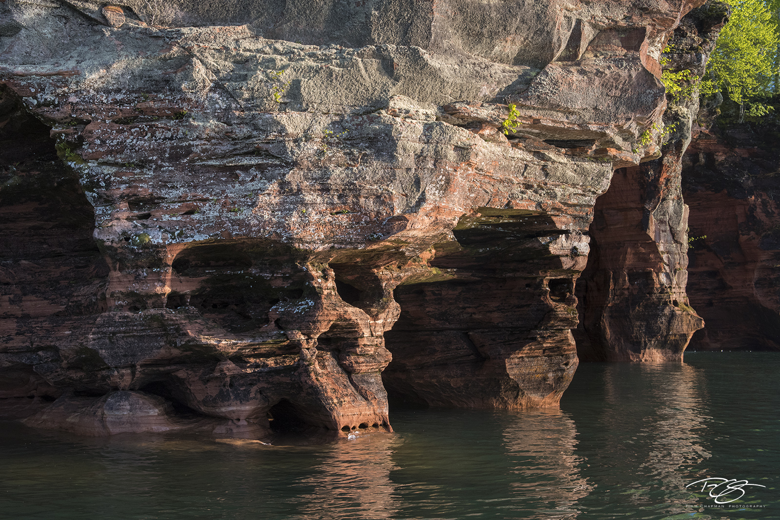 The relentless pounding of Lake Superior has sculpted this wall in the Apostle islands remarkably similar to a skull