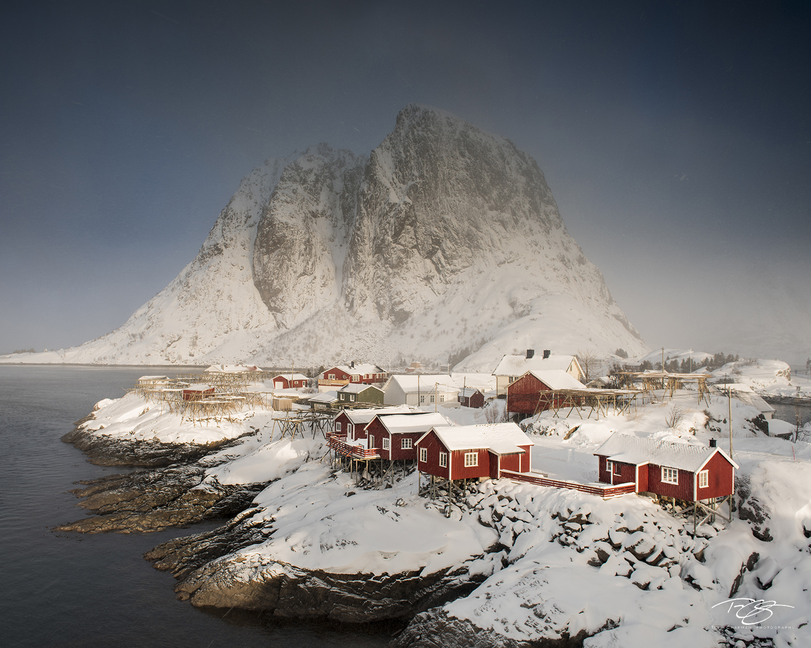 The tiny fishing vollage of Hamnøy braces for another winter storm on the island of Moskenes
