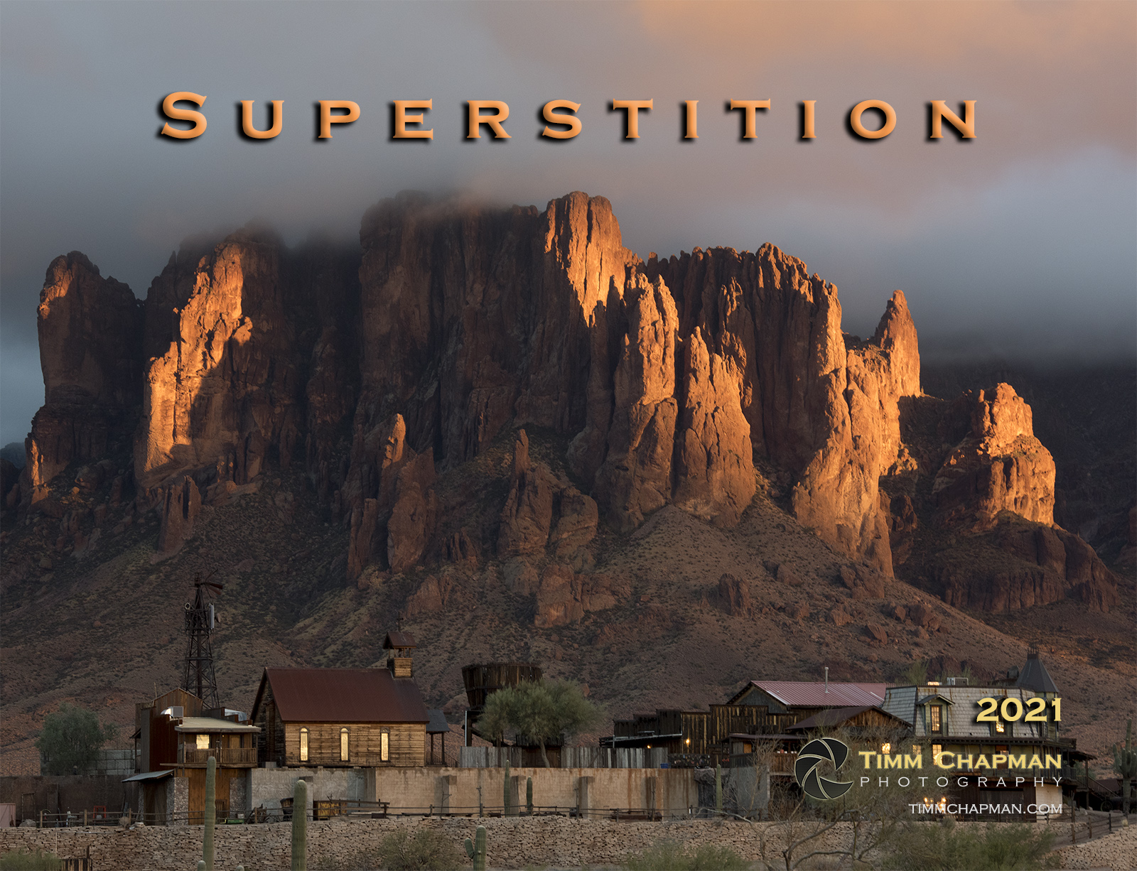 A collection of images of Arizona's iconic Superstition Mountain presented in a 12 month calendar for 2021