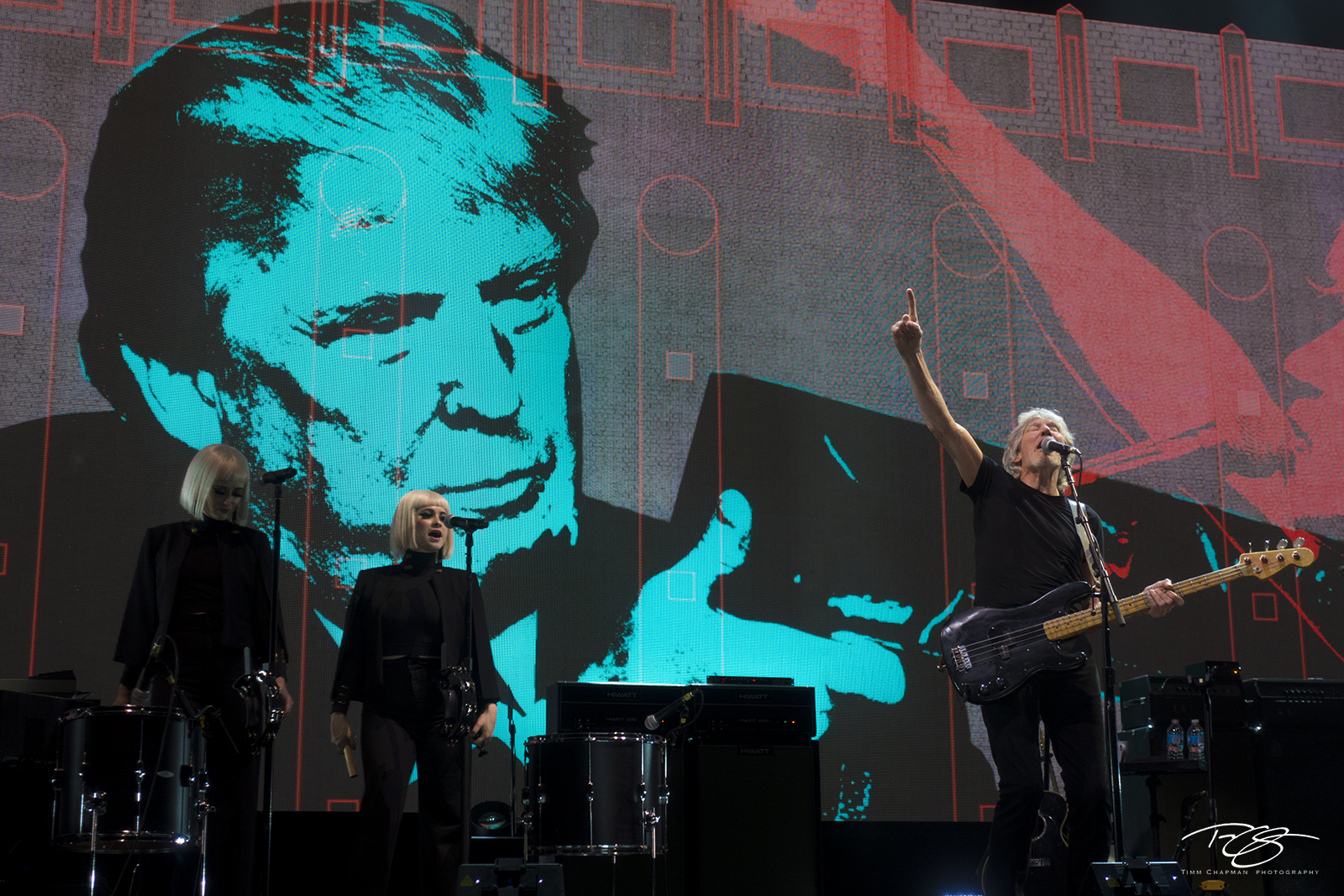 roger waters, pink floyd, in concert, performing, us + them, us and them, acoustic guitar, dark side of the moon, the wall, Holly Laessig, Jess Wolfe, trump, donald trump, photo
