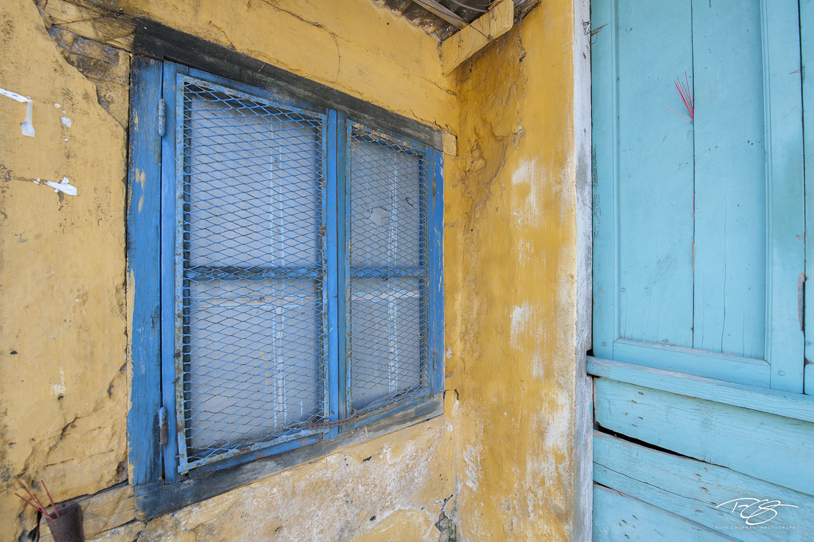 vietnam, door, blue, yellow, peeling paint, window, carribean, caribbean, worn, rustic, hoi an