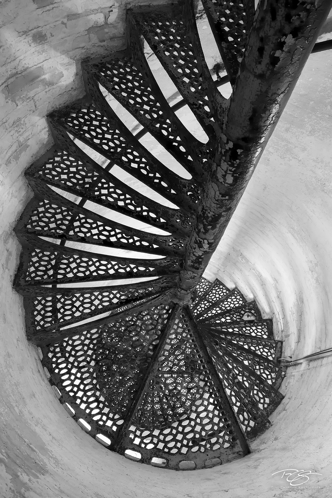 lighthouse, Looking Down, lake michigan, mackinaw, mackinaw city, michigan, light, beacon, staircase, spiral, abstract, steps, winding, peeling paint, window, black & white, monochrome, photo