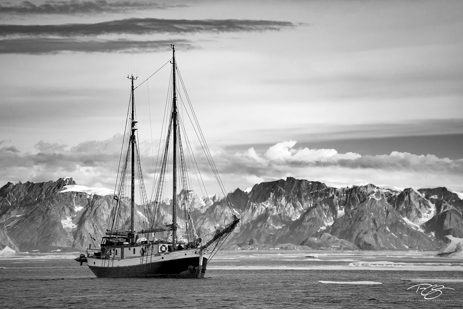 ice; iceberg, donna wood, sailboat, fishing vessel, ship, schooner, explorer, rugged, landscape, mountains, black & white, monochrome