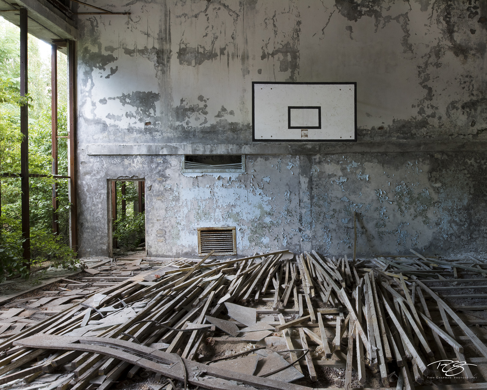 chernobyl, chornobyl, pripyat, exclusion zone, abandoned, forgotten, wasteland, radioactive, decay, school, middle school, gymnasium, gym, warped floorboards, reclamation, warped, peeling paint, dust, photo