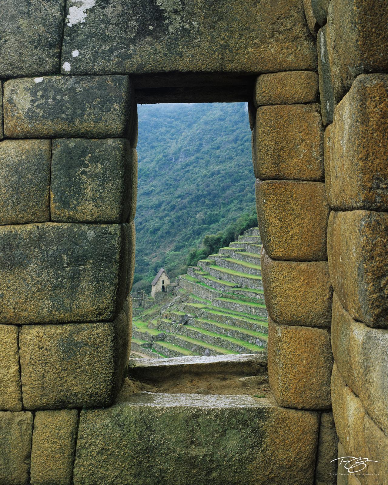machu picchu, inca trail, terraces carved stone, stone window, intihuatana, lost city, lost city of the incas, hiram bingham, urubamba valley, stone work, hand carved stone, window on the world, ancie, photo